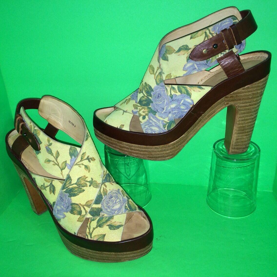 RAG & BONE Sloane Floral Suede Peep Platform Heel Bootie Sandal 38 8