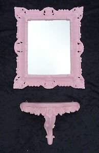 2-pieces-Set-Wall-Mirror-Wall-Bracket-Pink-Mirror-Table-Baroque-Antique-44x38-CM
