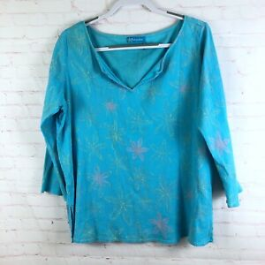 Fesh-Produce-Women-s-Size-XXL-Blue-Floral-V-Neck-Gauze-Crinkle-3-4-Sleeve-Top