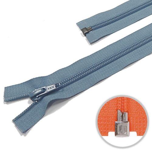 575 Ykk Spiral plástico cremallera divisible azul gris
