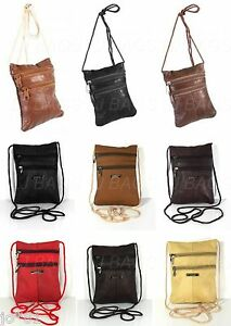 Real Leather Shoulder Mini Small Neck Purse Cross Body Tote Travel ...