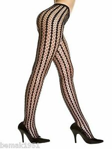 Black-Seamless-Stripes-Crocheted-Pantyhose-Tights-One-Size-Music-Legs-9010