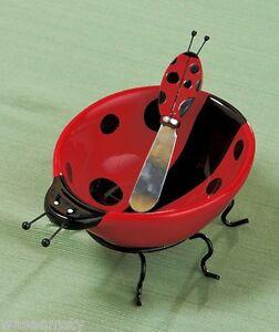 Red-Black-Polka-Dot-Ladybug-Ceramic-Dip-Bowl-Spreader-Set
