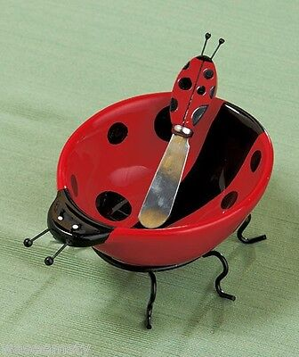 Red Black Polka Dot Ladybug Ceramic Dip Bowl & Spreader Set