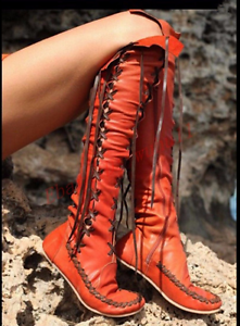 Roman Women Lace Up Gladiator Over the Knee High Boots Hidden Wedge Heel shoes E