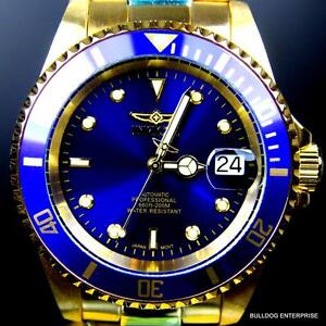 Mens-Invicta-Pro-Diver-18kt-Gold-Plated-Blue-NH35A-Automatic-Watch-Warranty-New
