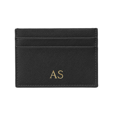 PERSONALISED MONOGRAMMED Saffiano Leather Wallet Card Holder Black