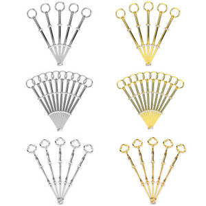 3 Sets 3 Tier Elegant Cake Plate Stand Handle Fittings silver Fan style