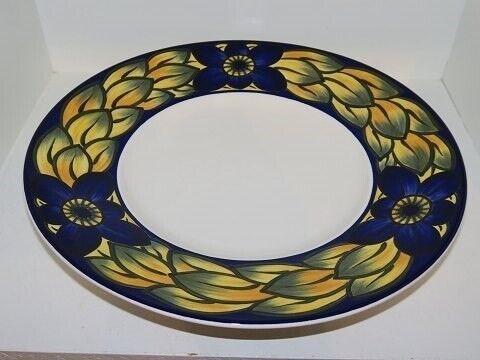 Porcelæn, Blå Fasan  Stort rundt fad med bred kant 30 cm.,