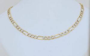 Real 10K Two Tone Yellow /& White Gold Hollow Cuban Chain Necklace 2MM to 5.0MM