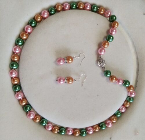 environ 45.72 cm Boucle d/'oreille Set Y083 8 mm multicolore Akoya Shell collier de perles AAA 18 in