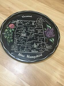 Image is loading Vintage-New-H&shire-Vermont-Decorative-Metal-Plate-Art- & Vintage New Hampshire Vermont Decorative Metal Plate Art 11\