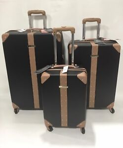 3cf917942 NEW VINCE CAMUTO LAURRA 3PC LUGGAGE SET SPINNER WHEELS BLACK WITH ...