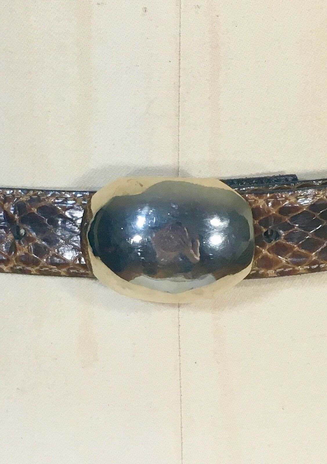 Vintage 1990's rich brown SNAKE SKIN belt with gold dome buckle by Robin Kahn 26