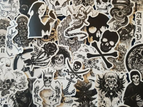 Gothic A Black and White Death Witch Skull Stickers 20//50 Scrapbooking Decal
