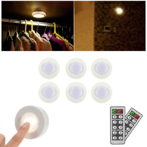 Details About Wireless Led Puck Light With Remote Control Dimmable Under Cabinet Lighting 6pcs
