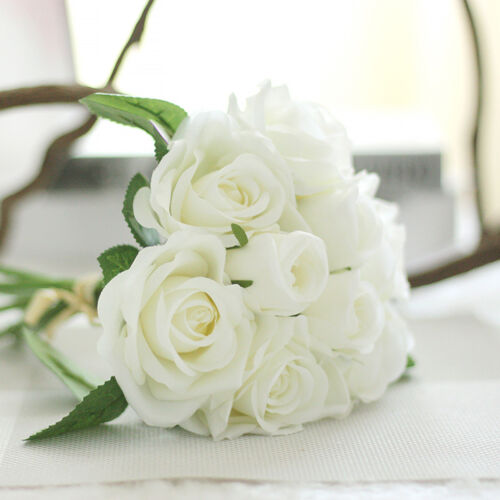 Wedding Party Home Decor Artificial Fake Roses Silk Flower Bridal Bouquet