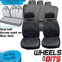 Vauxhall Vectra Universal Black + White Stitch Leather Look Car Seat Covers Set