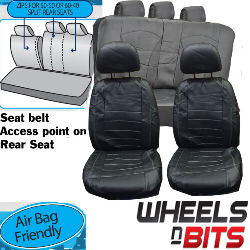 Citroen C1 C3 C4 C5 UNIVERSAL BLACK White stitch Leather Look Car Seat Covers