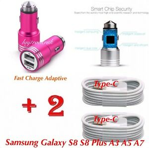 For-Samsung-Galaxy-S8-S9-A3-A5-In-Car-Fast-Charger-2x-Type-C-USB-Charging-Cable