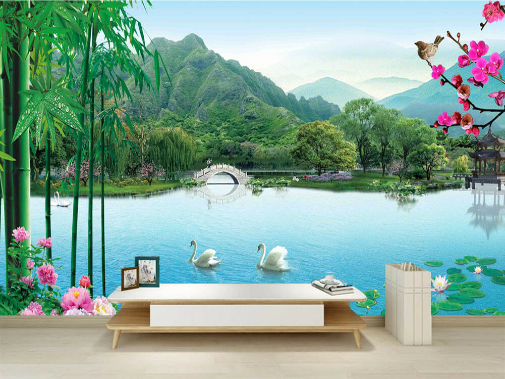 Bright Royal Lake 3D Full Wall Mural Photo Wallpaper Printing Home Kids Decor