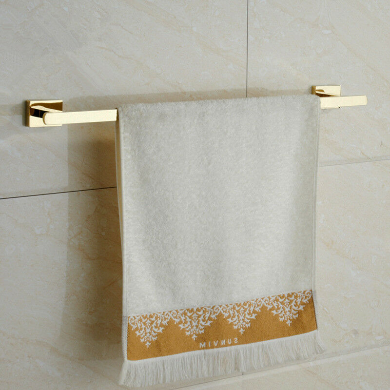Where To Put Towel Bars In Bathroom: Modern Wall Mounted SUS Gold Finish Bathroom Single Towel