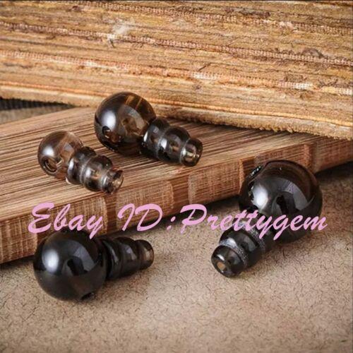 10,12 mm Redondo Natural Cuarzo Ahumado 5x7mm Tíbet gurú piedras preciosas espaciador granos 1 Set