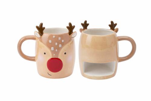 Novelty Reindeer or Santa Snack Mug Biscuit Pocket Holder Coffee Tea Xmas Gift