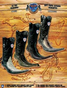 Westen Strass Wilde Struisvogel Westernlaarzen Heren Stingray 9x teen Cowboy Caiman kOZN08wPXn