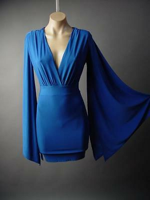 Royal Blue Kimono Angel Dagget Sleeve Evening Cocktail Wrap 212 mv Dress S M