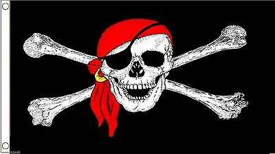 Pirate Skull and Sabres Red 5/'x3/' Flag
