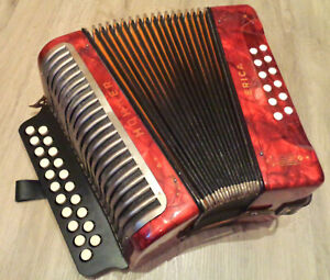 VERY RARE Red Hohner Erica 12-Bass G-C Diatonic Accordion + NEW Fingerboard