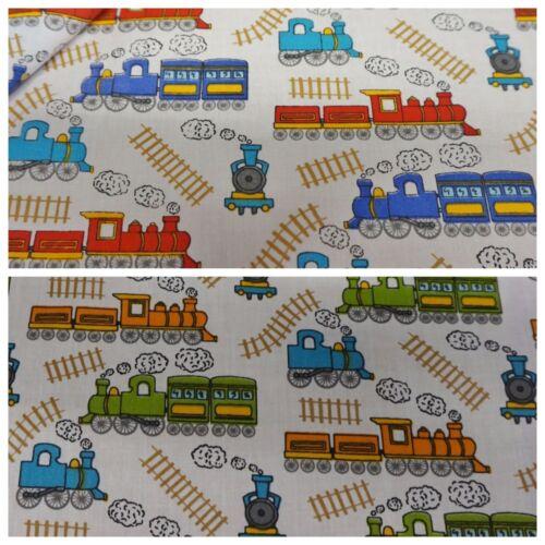 White Polycotton Fabric w// Bright Childrens Trains Print Per Metre 2 Colours