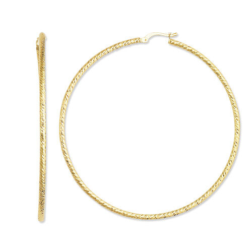 2x60mm 2 3 8  Large Diamond Cut Hoop Earrings Real 14K Yellow gold FREE SHIPPING