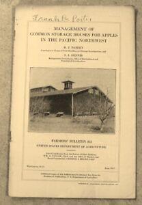 Vintage 1917 Storage For Apples United States Agriculture Bulletins