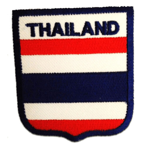 Aufnäher // Bügelbild 6,5 x 7,3 cm Thailand Flagge Fahne blau