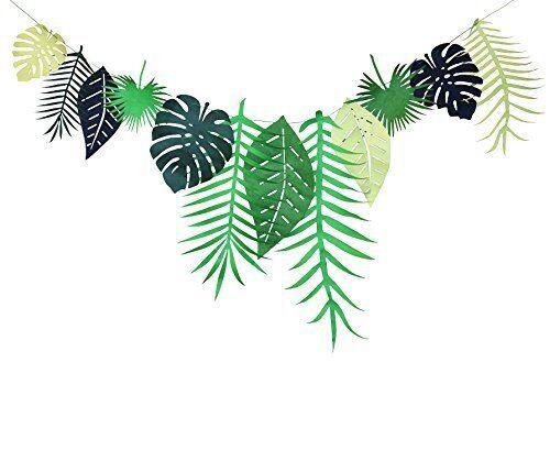 Tropical Leaf Bannière Guirlande Luau Fête Bunting Flag Festival Party Décoration B