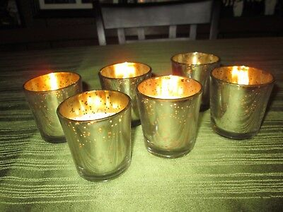New in Box Silver Metallic Glass Votive Candle Holders Set of 6