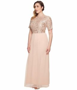 78f7c5709b1b Image is loading Adrianna-Papell-Sequin-Short-Sleeve-Chiffon-Gown-Size-