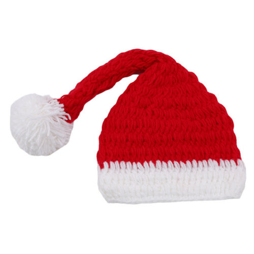 Knitted Baby Christmas Costume Santa Hat Stocking Newborn Photo Props Z