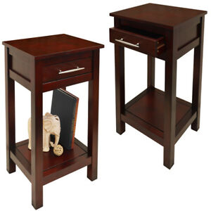 2-PACK-Solid-Wood-Storage-Telephone-End-Table-with-Drawer-Wenge-OC2270Ax2