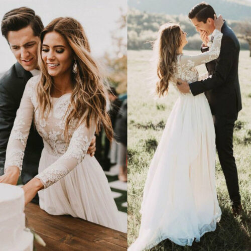 Garden Wedding Dresses Long Sleeves A-line Simple Bridal Gown Lace Tulle Plus sz