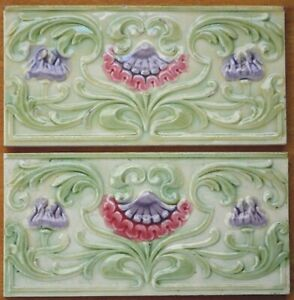 EUROPEAN 2 ANTIQUE ART NOUVEAU MAJOLICA BORDER TILES C1900