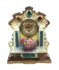 Antique 19th C Porcelain Case Hand Painted Floral Mantle Clock Parts Repair