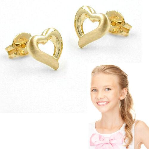 Mädchen Damen Herz Ohrstecker Kinder Ohrringe Echt Gold 585 14 KT glänzend matt