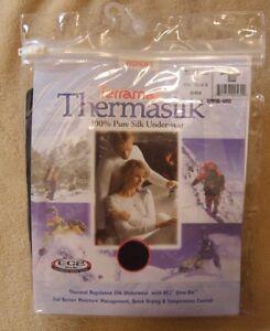 Silk Base Layer TERRAMAR THERMASILK Women/'s TOP Shirt 100/% SILK BLACK Large L