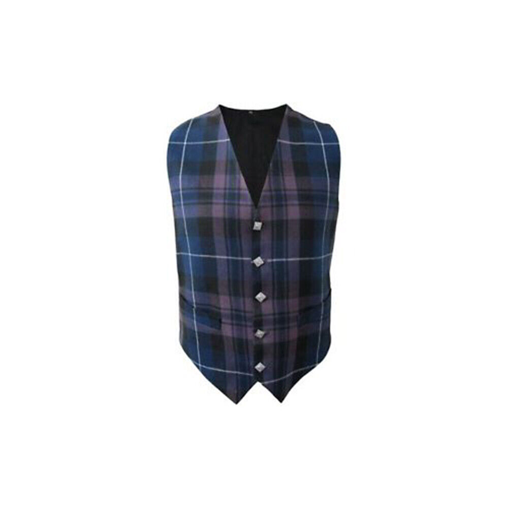 New Mens Scottish Waistcoat In Pride of Scotland Tartan With Thistle Buttons
