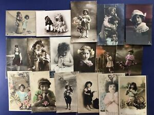 17-French-Style-Children-Greetings-Photos-Antique-Postcards-For-Collectors-NICE