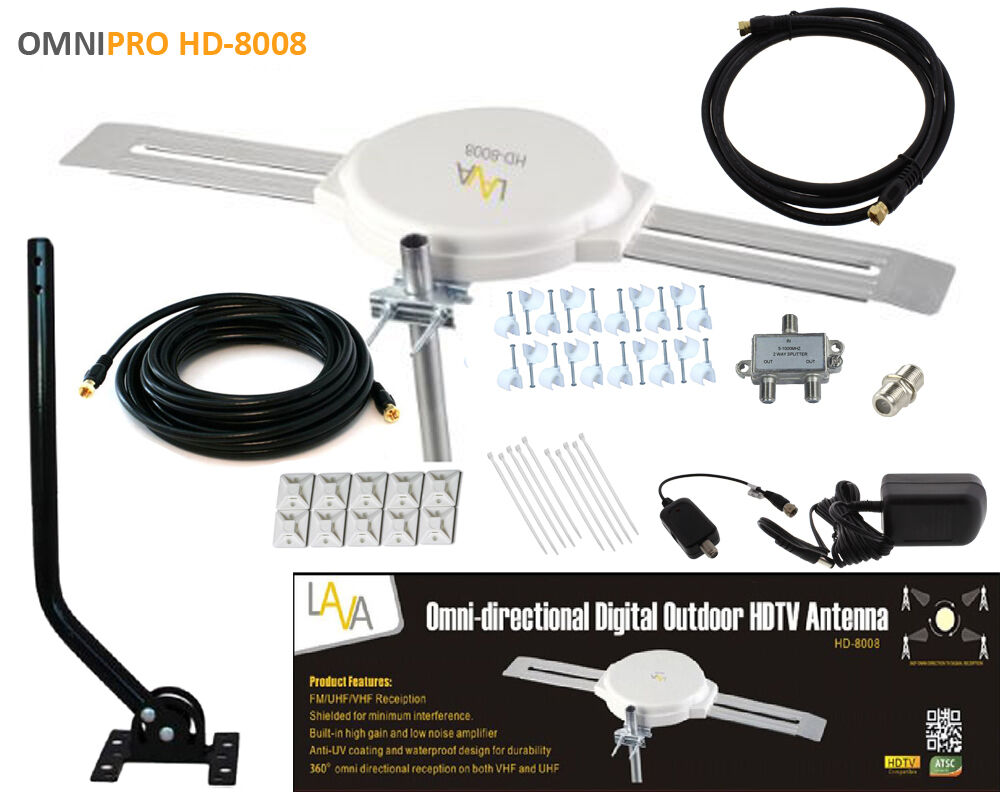 LAVA OMNI-DIRECTIONAL OUTDOOR HDTV VHF TV ANTENNA HD-8008 CABLE INSTALL KIT. Available Now for 109.90