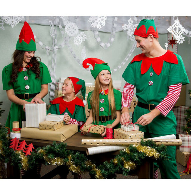 Xmas Santa Helper Costume Unisex Kids Family Christmas Elf Outfit Party Cosplay